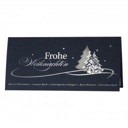 Edle Weihnachtskarte aus dunkelblauem Karton inkl. Umschläge