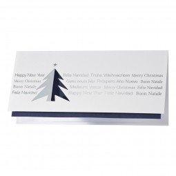 Schlichte Weihnachtskarte ganz ohne Schnörkel in Blau und Silber inkl. Umschläge