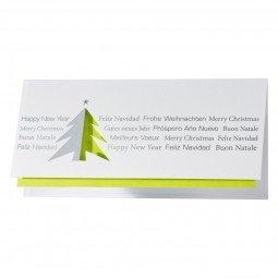 Schlichte Weihnachtskarte ganz ohne Schnörkel in Grün und Silber inkl. Umschläge