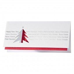 Schlichte Weihnachtskarte ganz ohne Schnörkel in Rot und Silber inkl. Umschläge